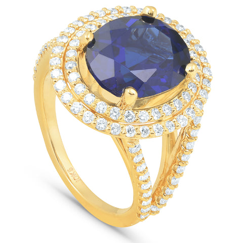 6 1/5 Ct Huge Diamond Oval Blue Sapphire Diamond Double Halo Ring Yellow Gold