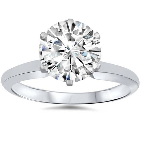 VVS 3ct Solitaire Moissanite Engagement Ring Round Brilliant 14k White Gold