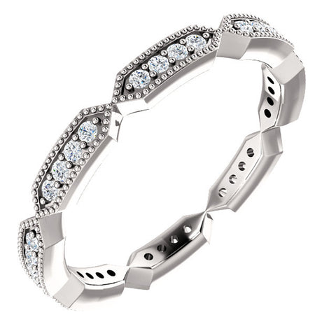 1/4 Ct Diamond Eternity Ring 10k White Gold Womens Stakable Wedding Band