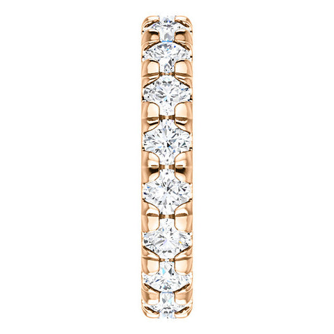 3.60 Diamond Pave Set Eternity Wedding Ring 14k Rose Gold