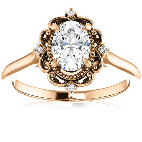 1 Ct Oval Diamond Engagement Ring G/SI 14k Rose Gold Enhanced