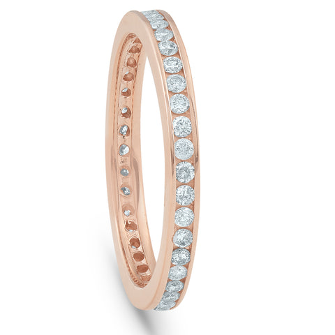 1/2 Ct Diamond Eternity Ring 14k Rose Gold Channel Set Wedding Band