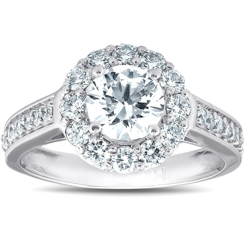 VS 2 Ct Diamond Halo Engagement Ring 14k White Gold