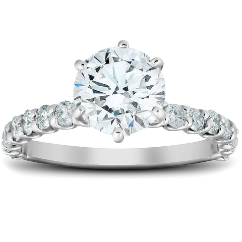 1 3/4 Ct Round Cut Diamond Engagement Ring G/SI 14k White Gold Enhanced