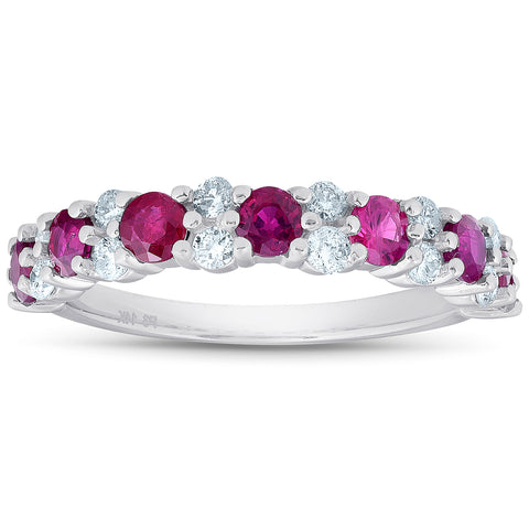 G/SI 1.49 Ct Ruby & Diamond Wedding Ring 14k White Gold