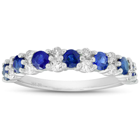 1 1/2 Ct Blue Sapphire & Diamond Wedding Ring 14k White Gold