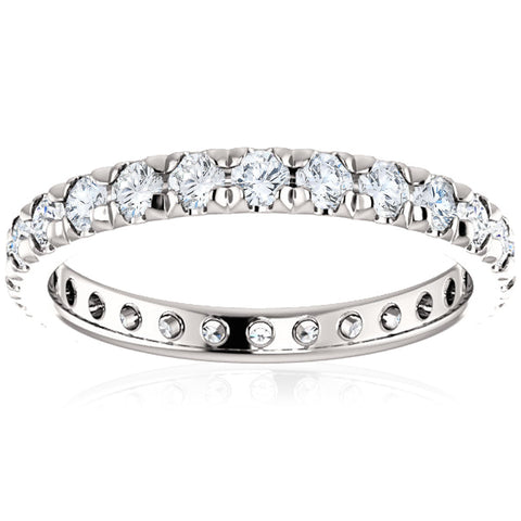 SI/G 1 Ct Diamond Wedding Eternity Ring Lab Grown 14k White Gold