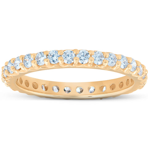 1 Ct Diamond Wedding Eternity Ring Lab Grown 14k Yellow Gold