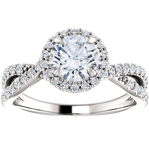 SI/G 1 Ct Halo Intertwined EX3 Lab Grown DIamond Engagement Ring 14k White Gold