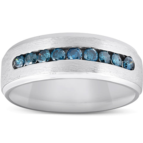 Mens 1/3ct Blue Diamond Brushed Wedding Ring 14k White Gold