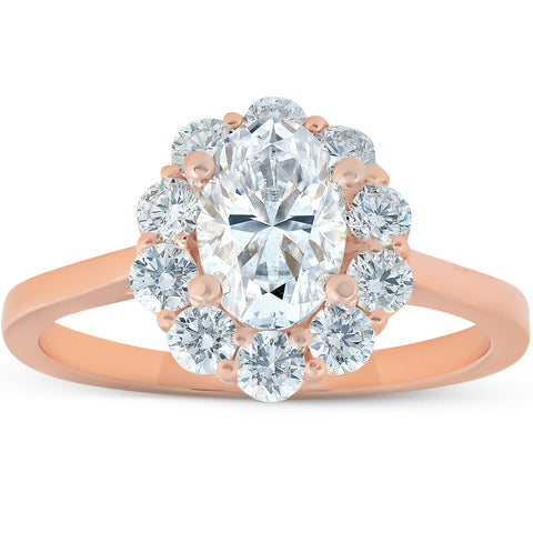 1 5/8 Ct Oval Lab Created Moissanite & Diamond Halo Engagement Ring Rose Gold