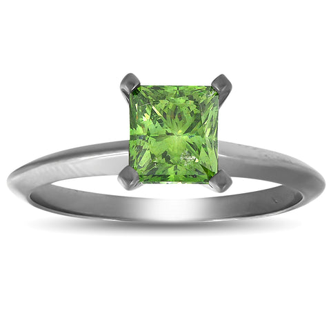 1 Ct Princess Cut Green Diamond Solitaire Engagement Ring 14k Black Gold