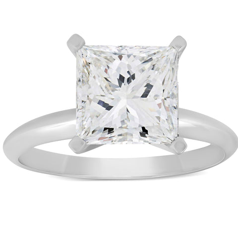 3 Ct Princess Cut Diamond Solitaire Engagement Ring 14k White Gold Enhanced
