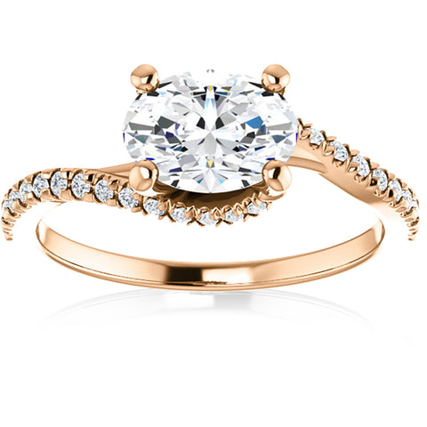 H/SI 1 1/4 Oval Diamond (1ct center) Engagement Ring 14k Rose Gold Enhanced