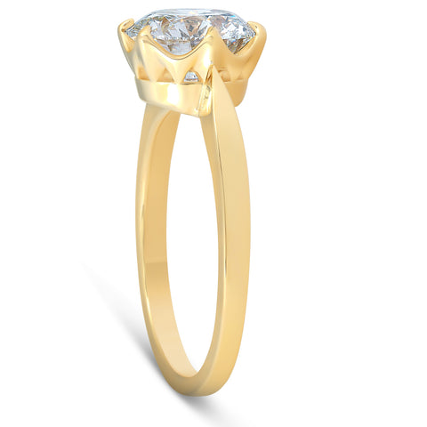 G/VS 2 Ct Moissanite Solitaire Engagement Ring 14k Yellow Gold