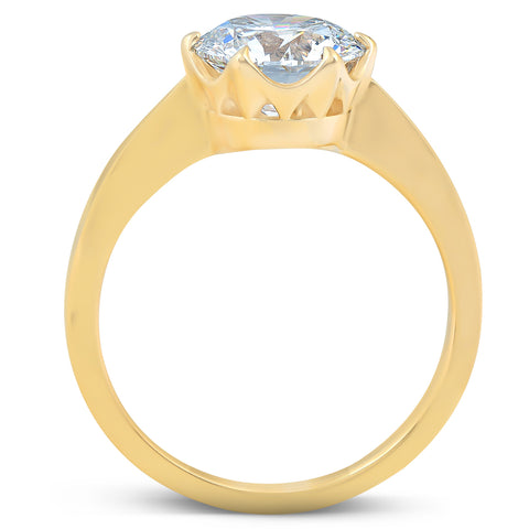 2 Ct Diamond Solitaire Engagement Ring 14k Yellow Gold Enhanced