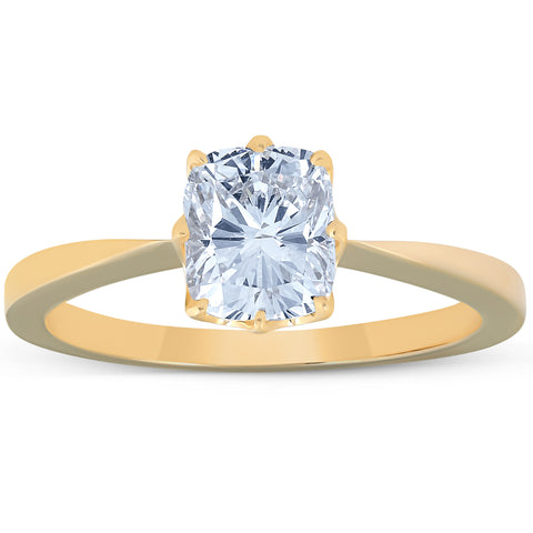 G/SI 1 Ct Cushion Diamond Solitaire Engagement Ring 14k Yellow Gold Enhanced