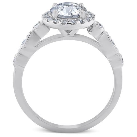 GSI 1 3/4 Ct Diamond Engagement Ring 14k White Gold Halo Enhanced