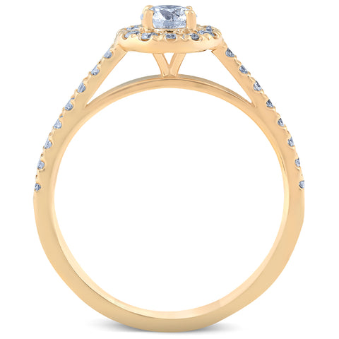 G/SI 1 Ct Diamond Engagement Halo Wedding Ring Set 14k Yellow Gold Lab Grown