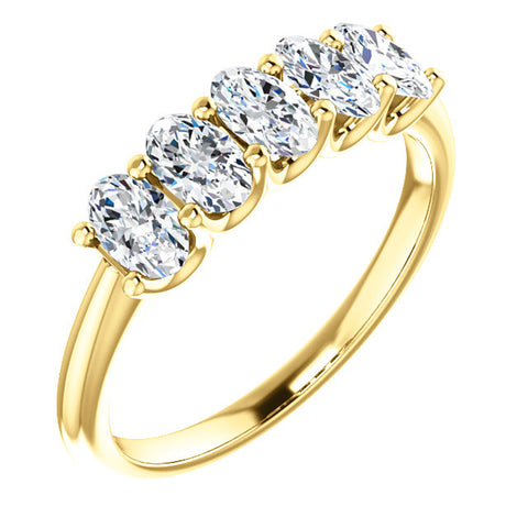 VS 1.50Ct Oval Moissanite Marquise Wedding Ring in White, Yellow or Rose Gold