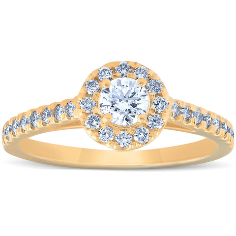 VS 3/4 Ct Halo Round Lab Grown EX3 Diamond Engagement Halo Ring 10k Yellow Gold