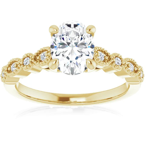 G/VS 1.10Ct Moissanite & Lab Grown Diamond Engagemeng Ring 10k Yellow Gold