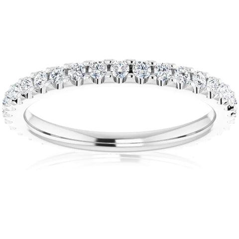 1/2 Ct Lab Grown Diamond EX3 Eternity Ring Womens Bad 14k White Gold