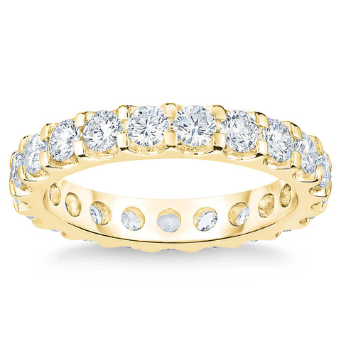 VS/H 2 Ct Lab Grown Diamond Eternity Ring Womens Wedding Band 14k Yellow Gold