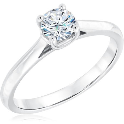 1/2Ct Round Diamond Solitaire Engagement Ring 10k White Gold
