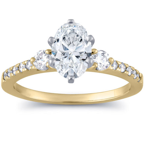 SI 1 1/2 Ct Oval Diamond Engagement Ring 14k Yellow Gold Enhanced