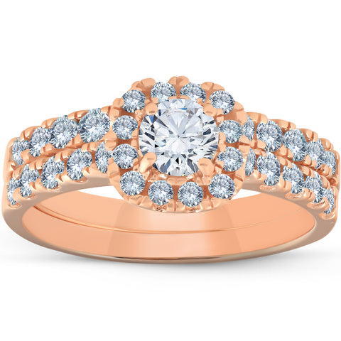 1 1/4 Ct Diamond Cushion Halo Engagement Wedding Ring Set 14k Rose Gold