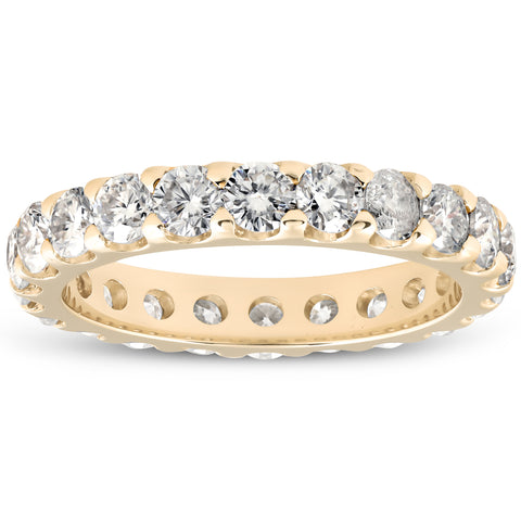 2Ct Didamond Eternity Ring 10k Yellow Gold U Prong Stackable Wedding Band