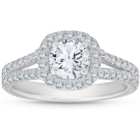 1 1/2Ct Diamaond Cushion Halo Split Shank Engagement Ring White Gold Enhanced