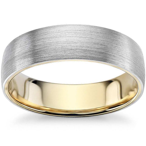Mens 10k White and Yellow Gold Two Tone Brushed Wedding Band 5mm