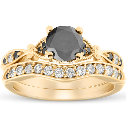 1 3/4 Ct Black & White Diamond Engagement Wedding Ring Set 10k Yellow Gold