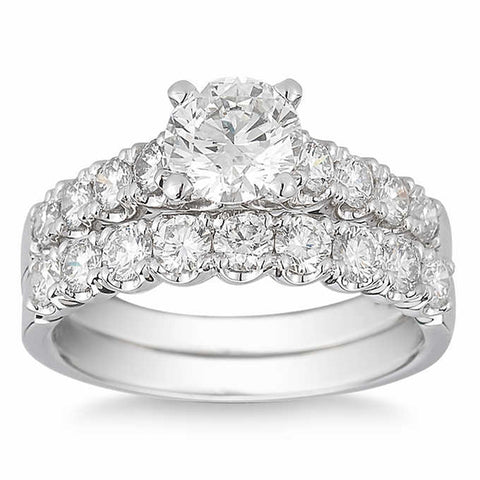 3 1/2 Ct Diamond Engagement Wedding Ring Set White Gold Enhanced