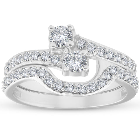 1 1/2 Ct Diamond Engagement Two Stone Forever Us Ring Set White Gold