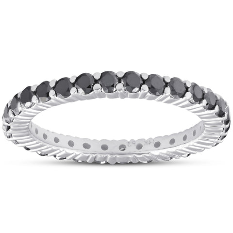 1 Ct Black Diamond Eternity Ring 14k White Gold