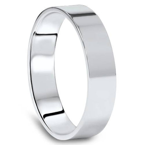 5mm Flat High Polished Wedding Band 10K White Gold