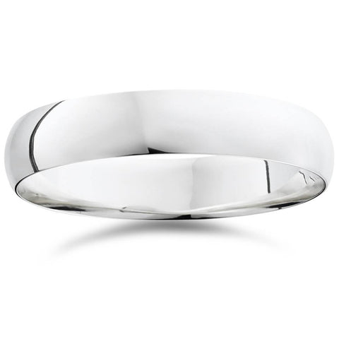 5mm Dome High Polished Wedding Band 14K White Gold