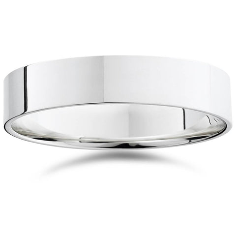 5mm Flat High Polished Wedding Band 14K White Gold Comfort Fit Plain Ring