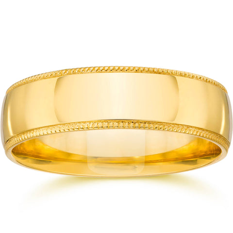 5mm Milgrain Wedding Band 14K Yellow Gold