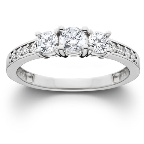 VS/G 1ct Diamond Three Stone Ring 14K White Gold