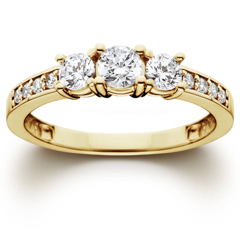 1 Ct 3-Stone Diamond Engagement Ring 10K Yellow Gold