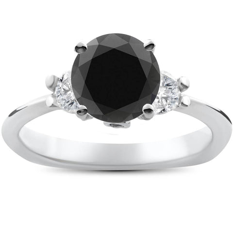 1 3/8ct Treated Black Diamond Engagement Accent Anniversary Ring 14k White Gold