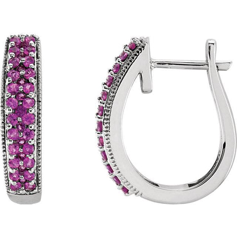 7/8ct Genuine Pink Sapphire Pave Hoops 14K White Gold 18.5mm Tall