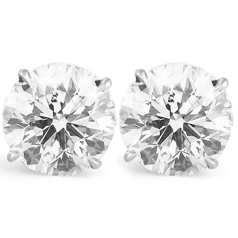 Massive 6.00 Ct Diamond Studs 14k White Gold Enhanced