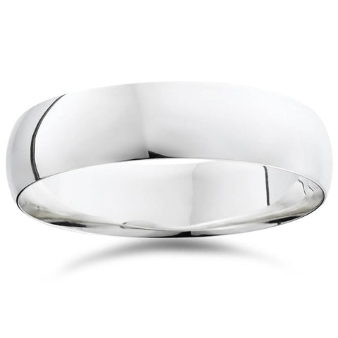 14K White Gold Comfort Fit Plain Wedding Band Ring