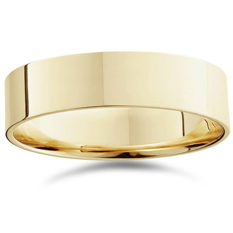 Mens 14K Yellow Gold Flat Plain Wedding Band