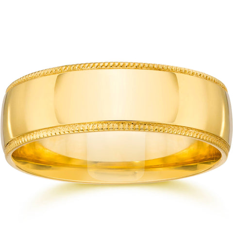 6MM Plain Wide Milgrain Wedding Band 14K Yellow Gold